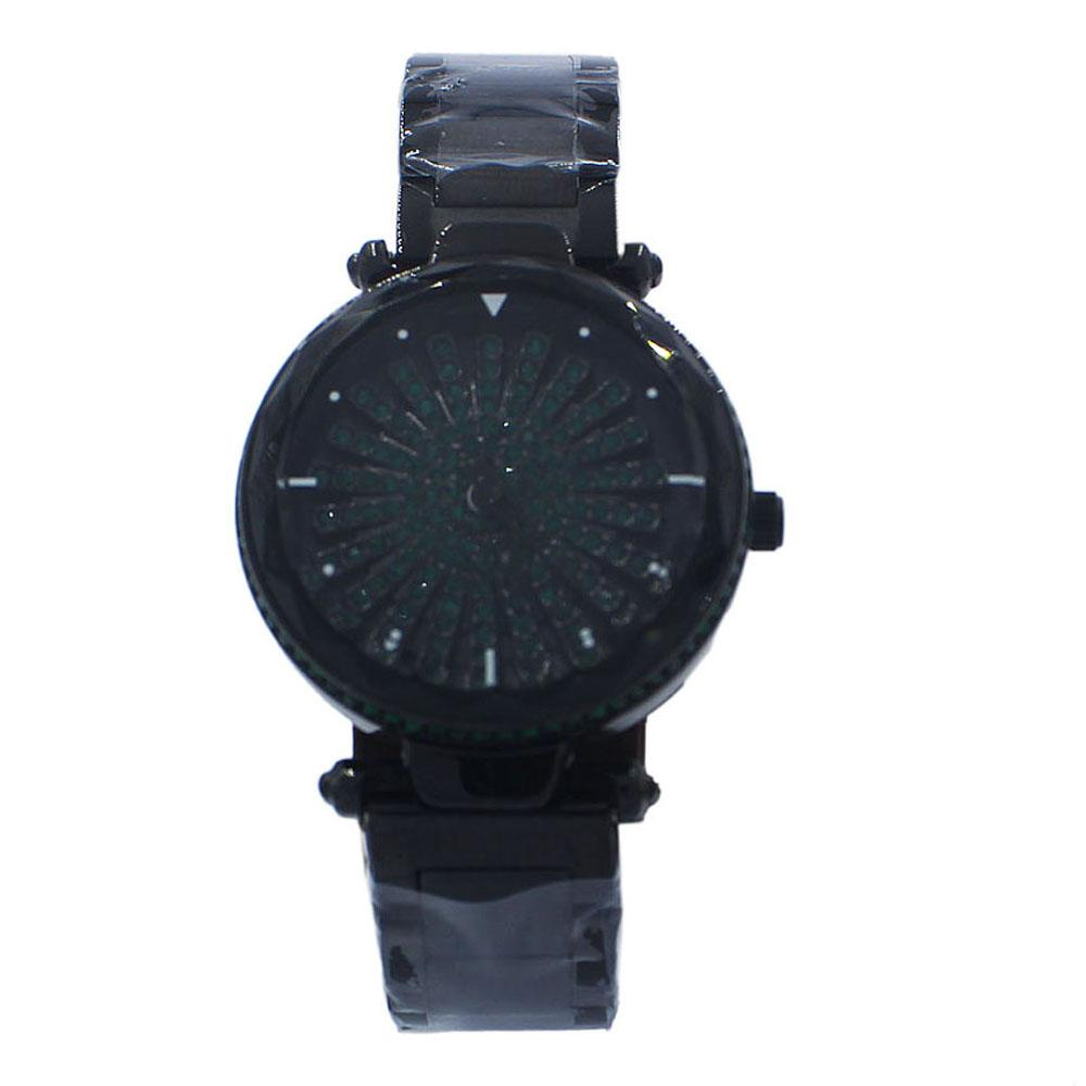 Black Green Face Crystal Studded Stainless Steel Spinners Ladies Watch