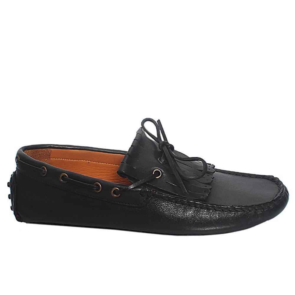 Black Asensio Fringe Italian Leather Drivers Shoes