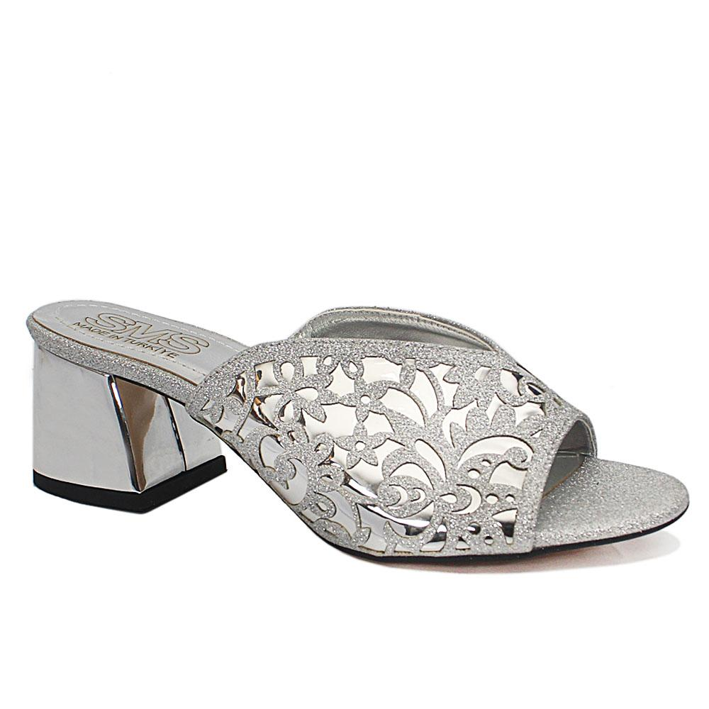 Maite Silver Floral Shimmering Leather Low Heel Ladies Slippers