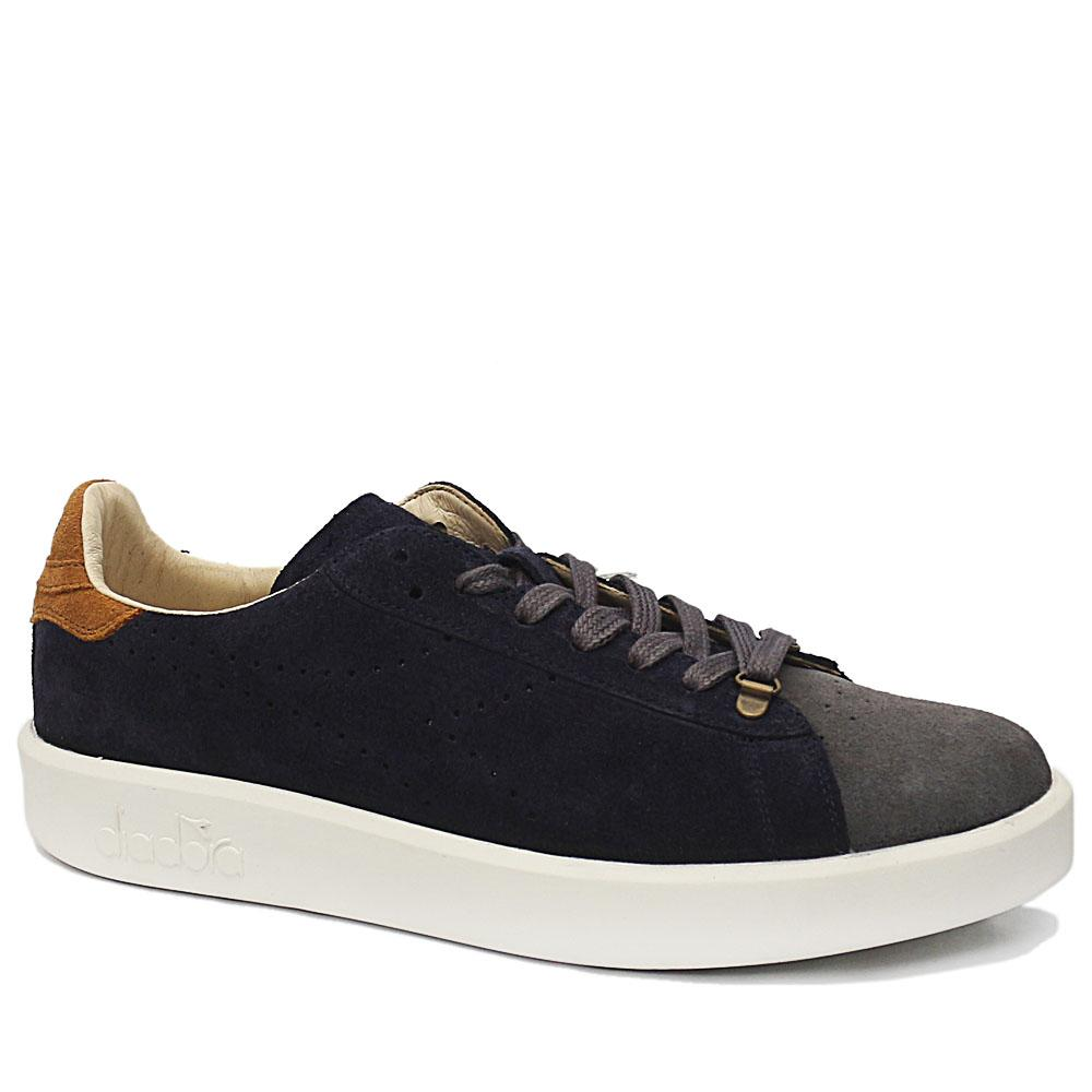 Navy Gray Game H Suede Leather Sneakers