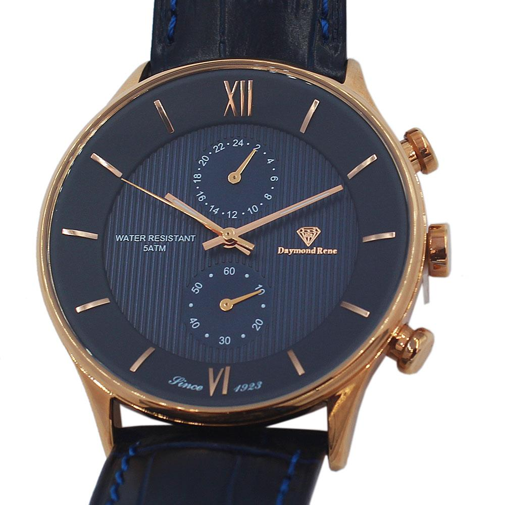 DR 5ATM Rose Gold Navy Leather Divers Series Watch