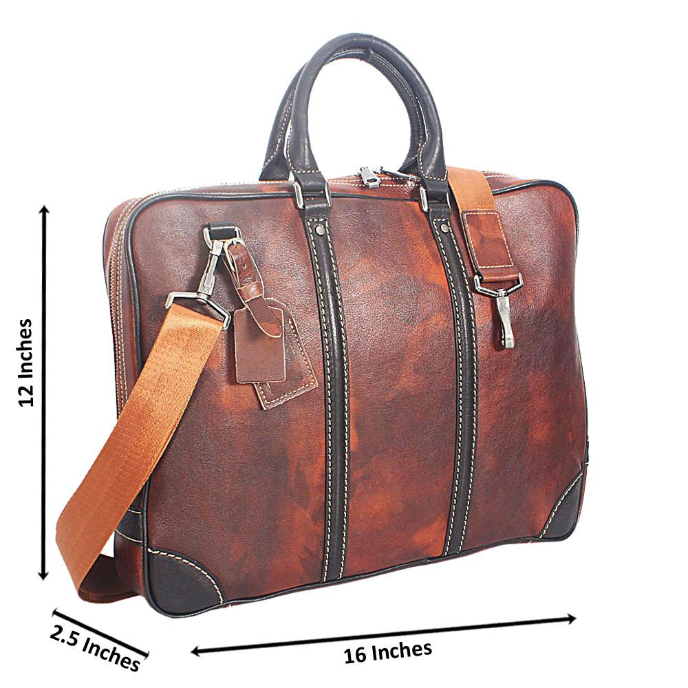 Coffee Italian Full Grain Leather Briefcase