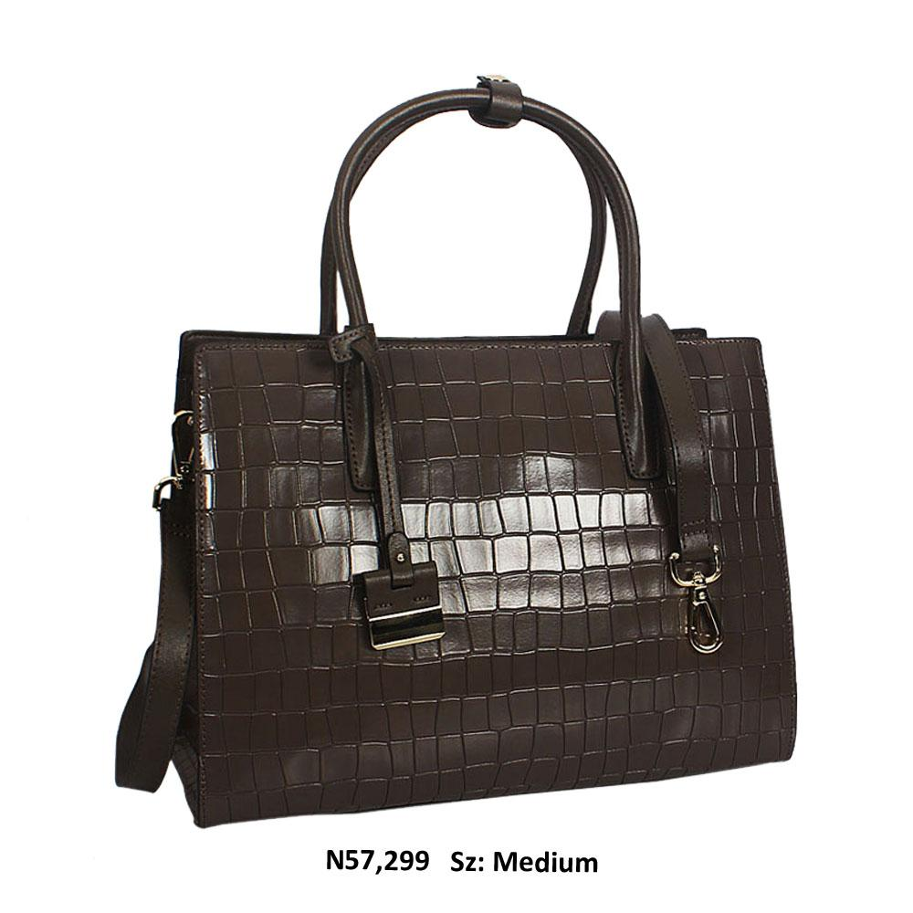Freya Dark Khaki Croc Cowhide Leather Tote Handbag