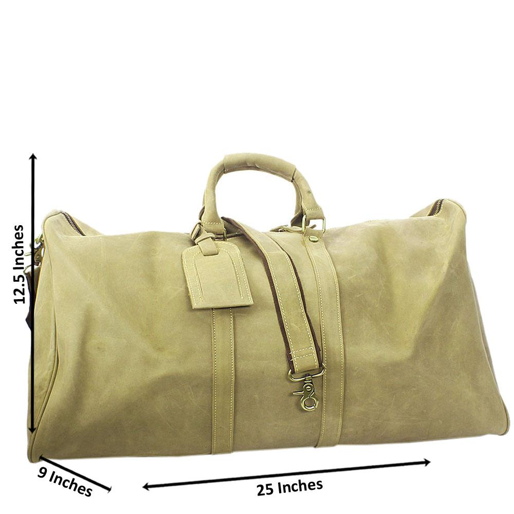 Khaki Cowhide Leather Duffle Bag