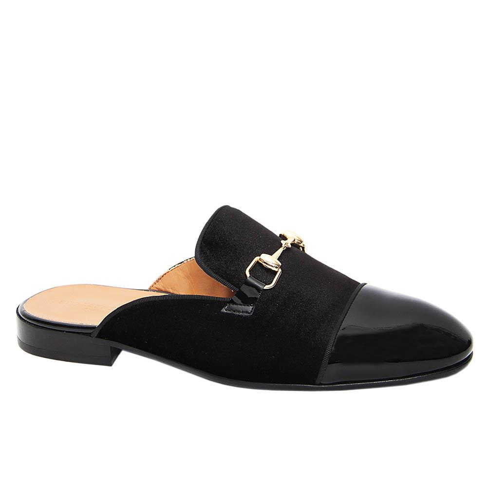 Black Felipe Mix Velour Italian Leather Half Shoe