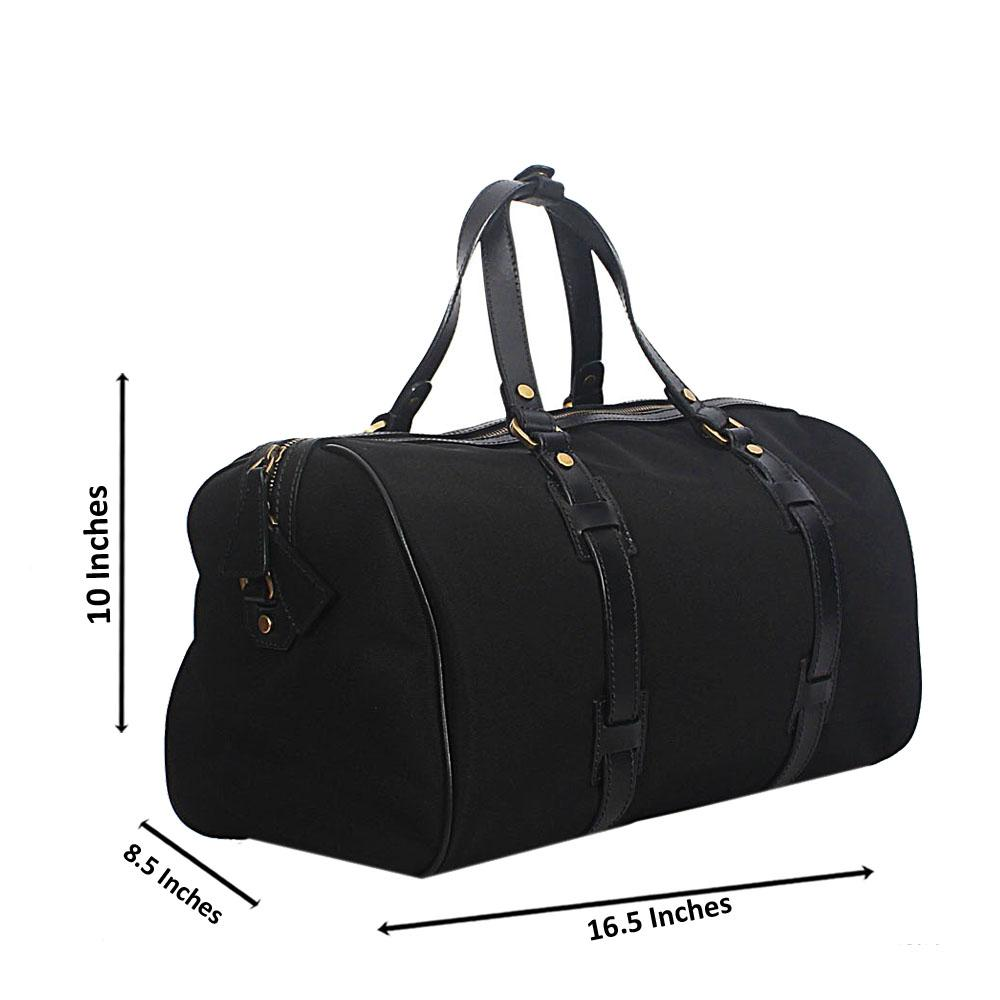 Black and Brown Leather and Water Proof Fabric and Leather Duffel Bag