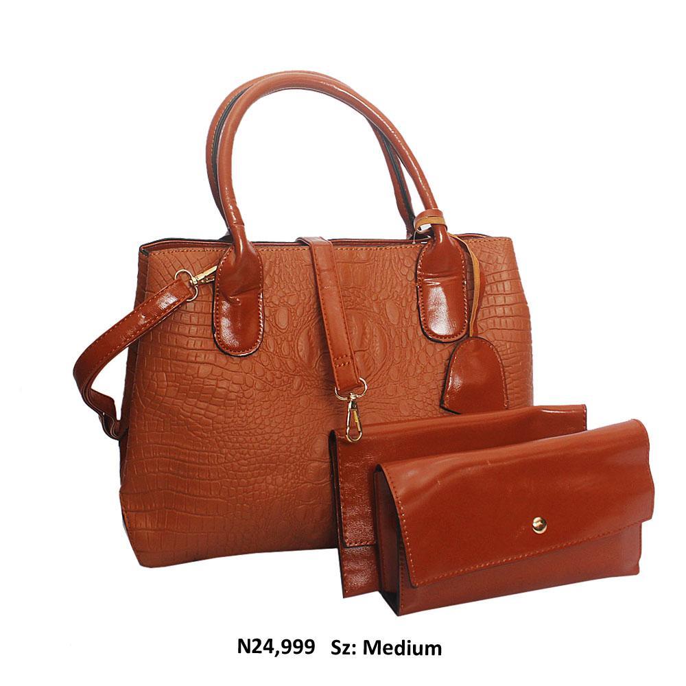 Brown Calvina Croc Style Leather Tote Handbag