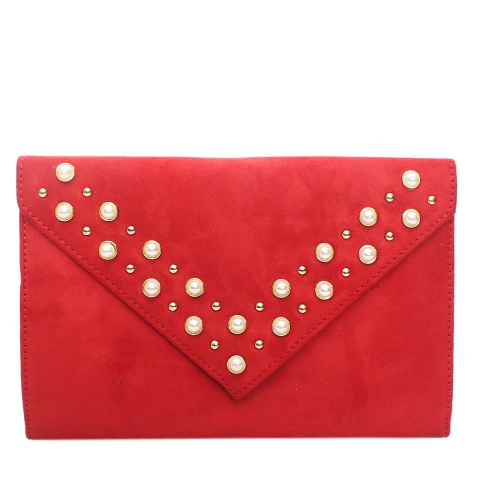 Red Virgo Studded Leather Flat Purse
