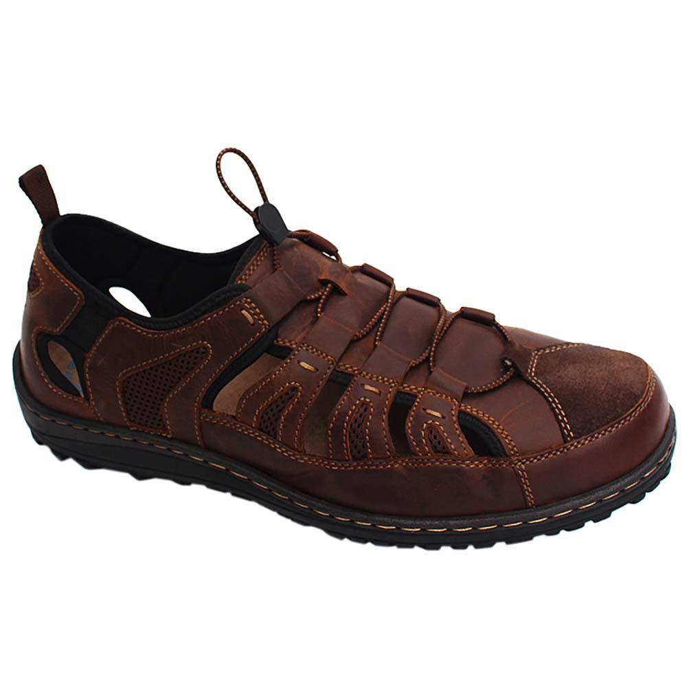 Coffee Rocky Jones Leather Fisherman Sandals