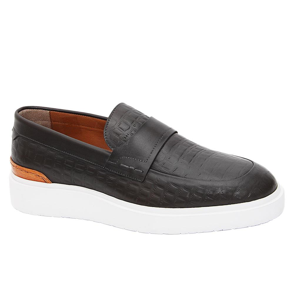Dark Gray Castaneda Italian Leather Slip-On Sneakers