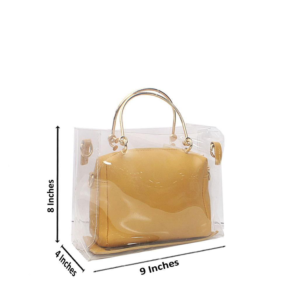 Yellow Transparent Ice Rubber Leather Mini Handbag