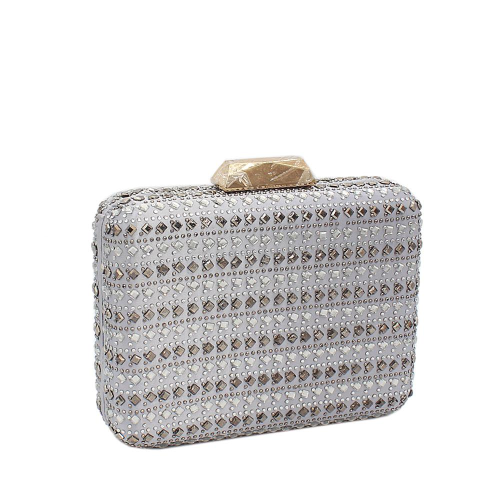 Silver Studded Fabric Clutch Purse