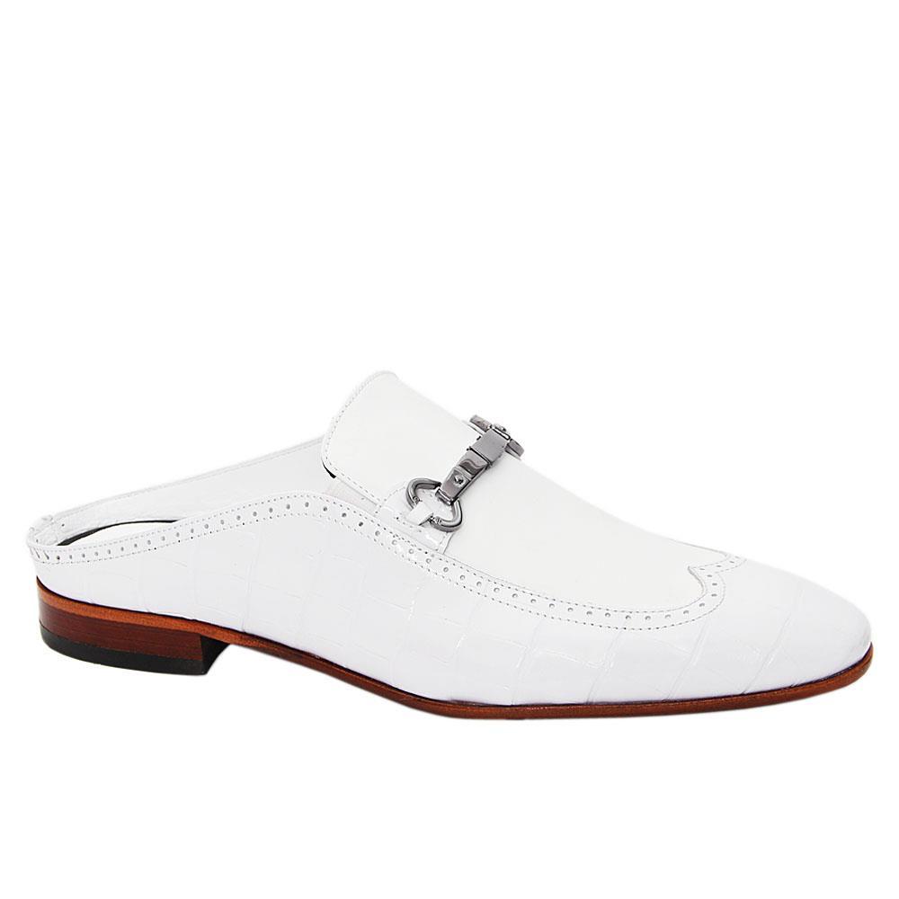 White Rolando Italian Leather Half Shoe