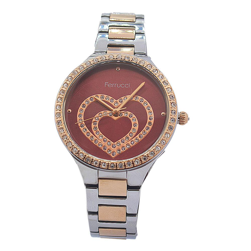 Ferrucci Love Face Studded Silver Gold Vintage Ladies Watch