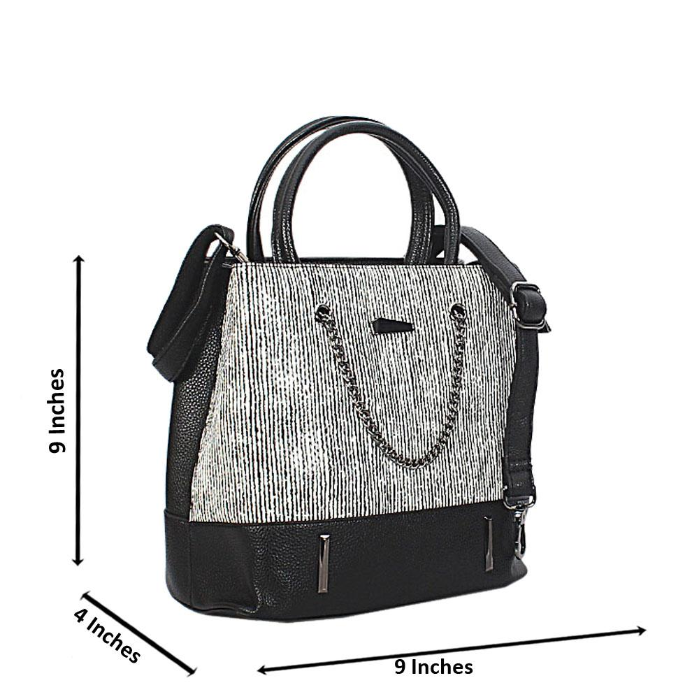 Black White Mix Leather Small Handbag