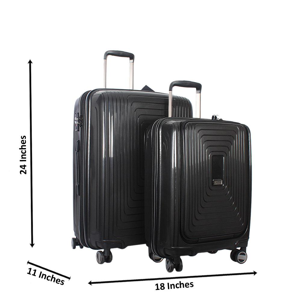 Black 24 Inch wt 20 Inch 2 in 1 ABS Shell Luggage Set Wt TSA Lock