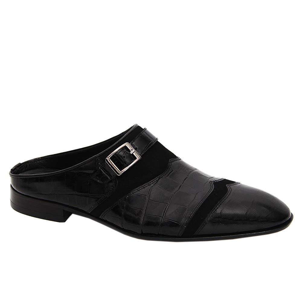 Black Pablo Mix Suede Italian Leather Half Shoe