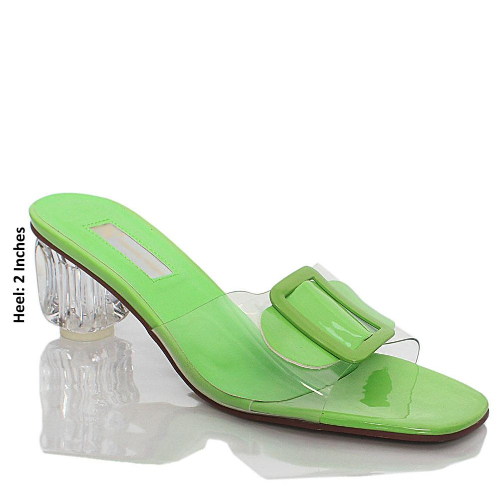 Lemon Transparent Rubber Leather Mule