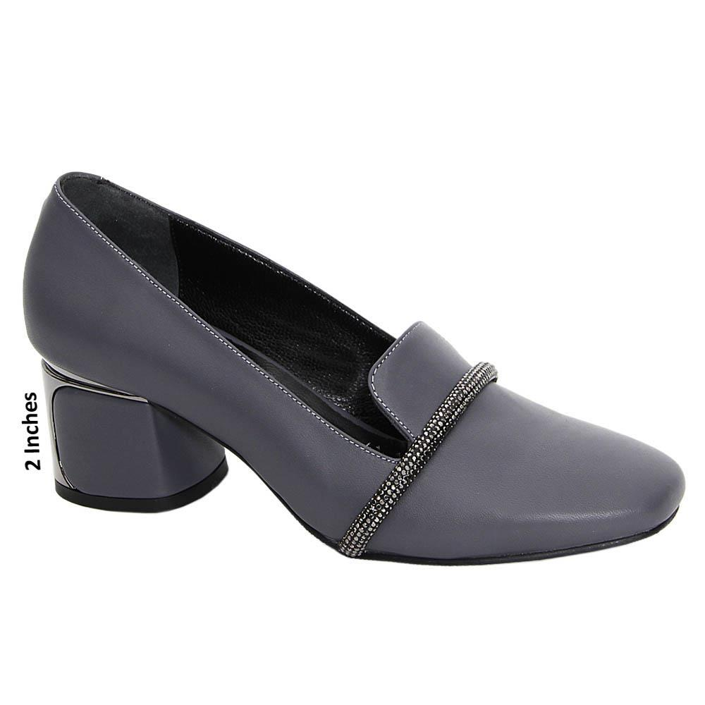 Gray Maria Paula Tuscany Leather Mid Heel Pumps