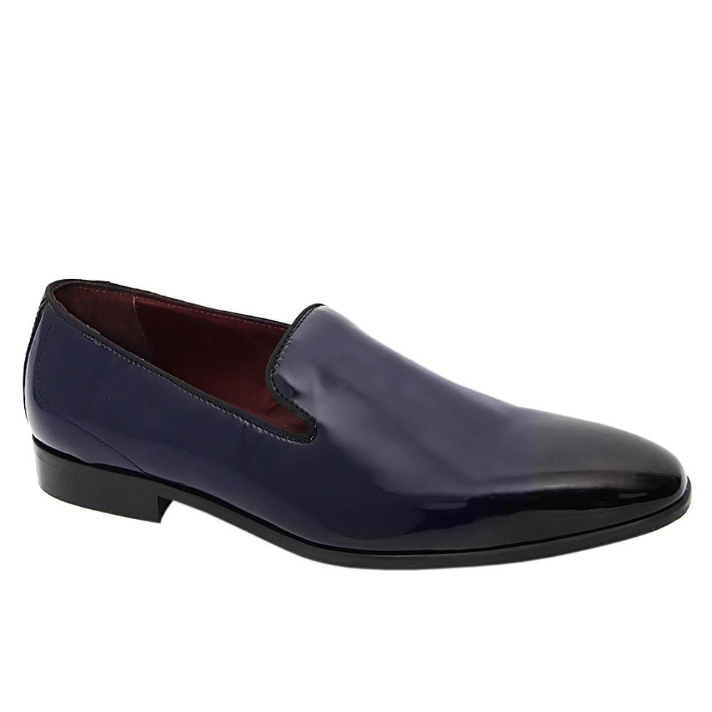 K Geiger Dark Navy Howard Patent Leather Loafers