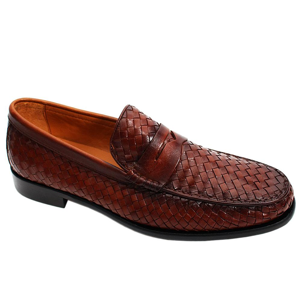 Brown Alberto Woven Italian Leather Men Loafers