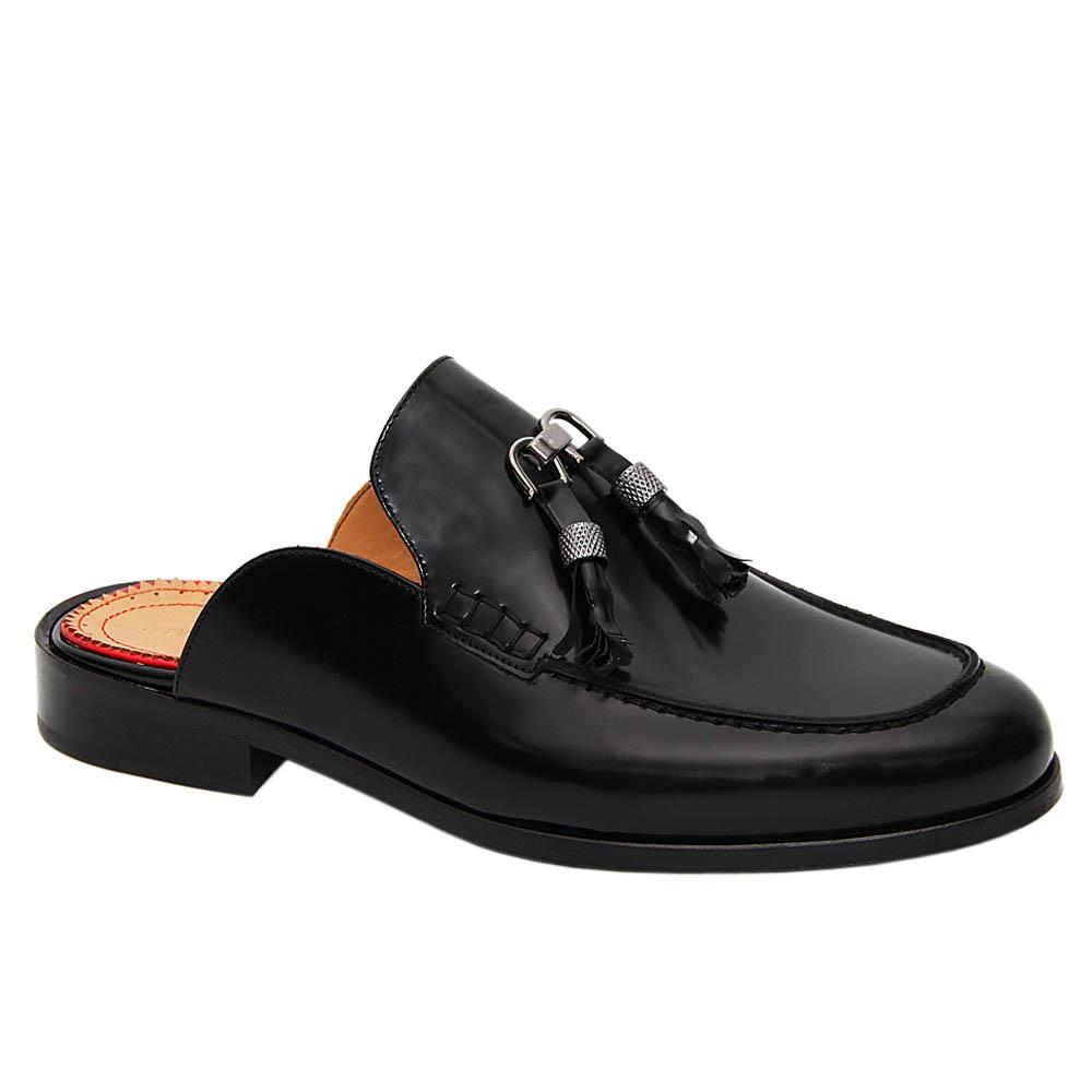 Black Giosue Italian Leather Half Shoe