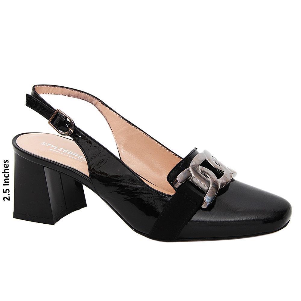 Black Abrianna Patent Tuscany Leather Mid Heel Slingback Pumps
