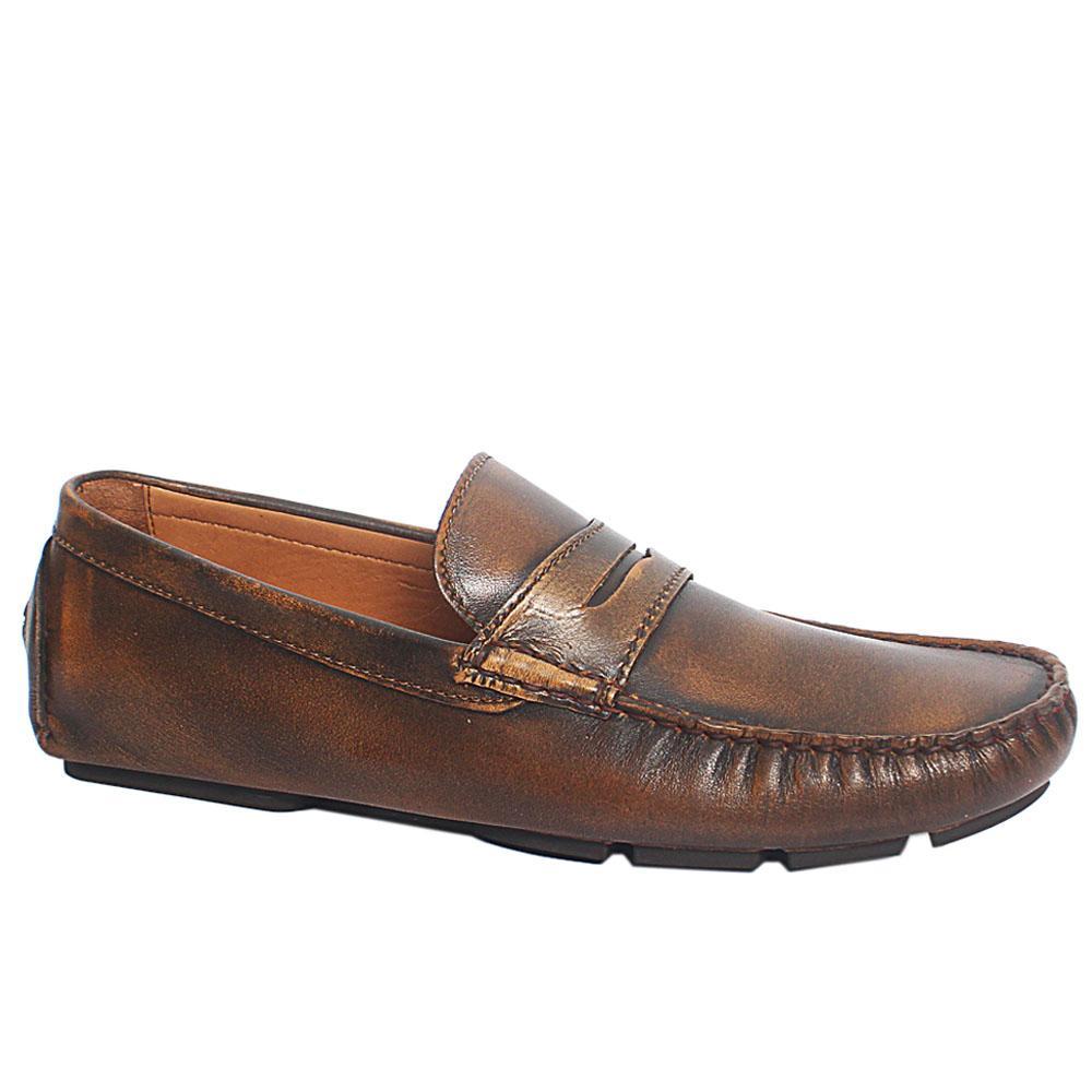 Brown Conte Italian Leather Driver Shoe