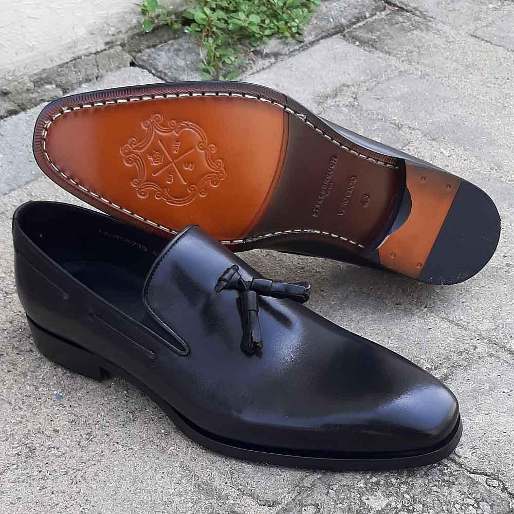 Black Orlando Italian Leather Men Tassel Loafers