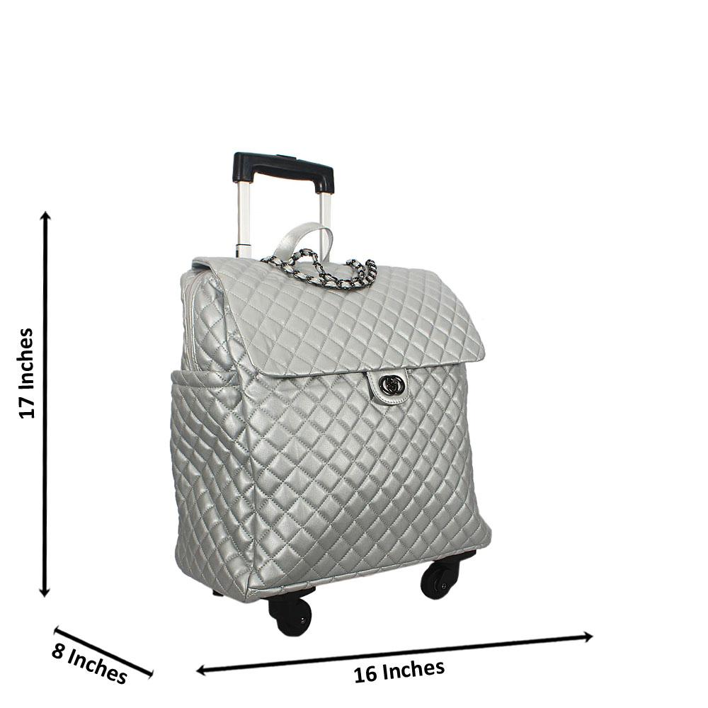 Silver 17 Inch Soft Leather Carry On Hand Luggage