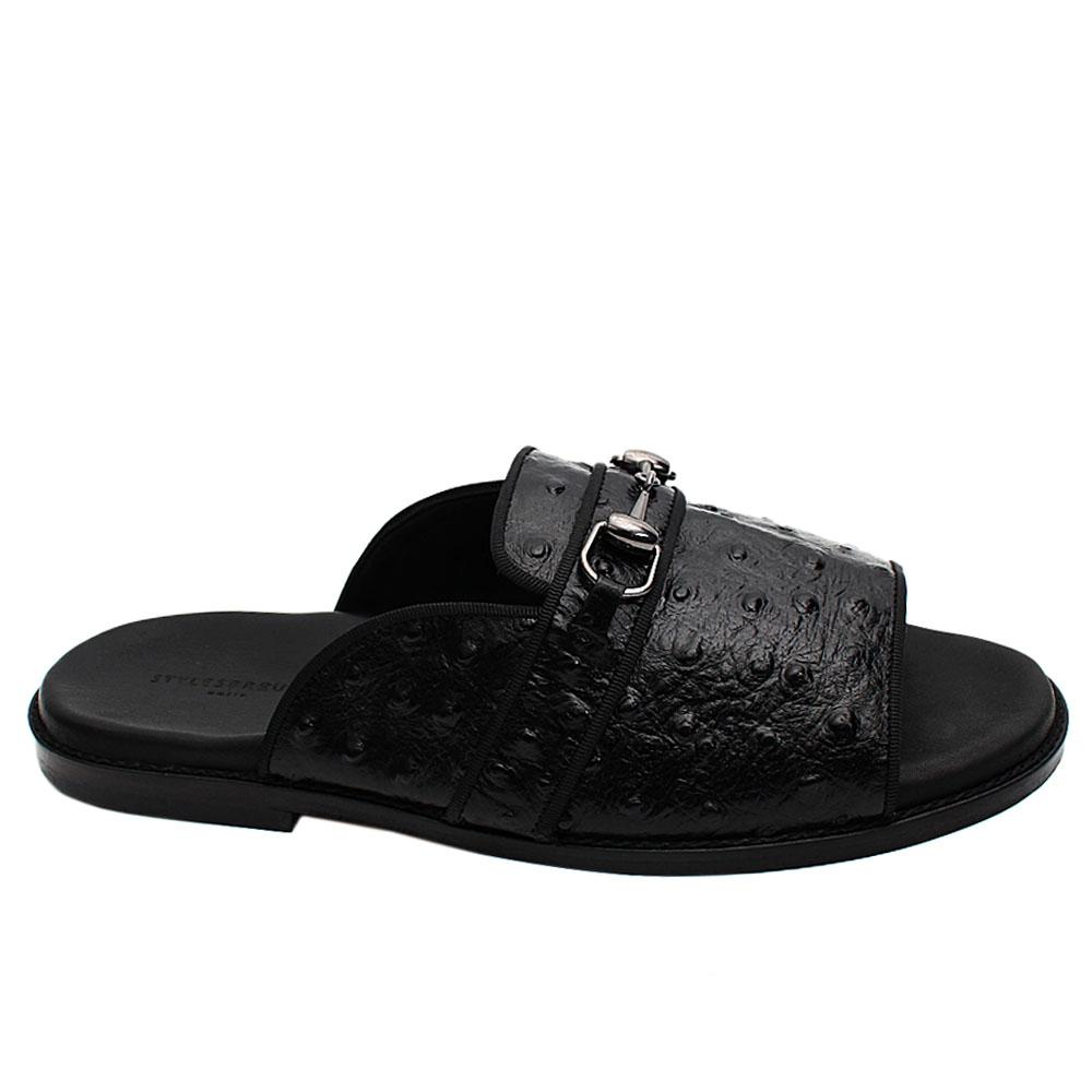Black Peafowl Italian Leather Men Slippers