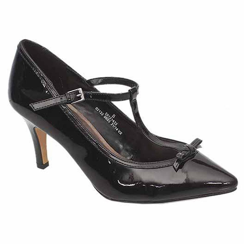 M&S Black Ladies Heel Shoe Sz 38