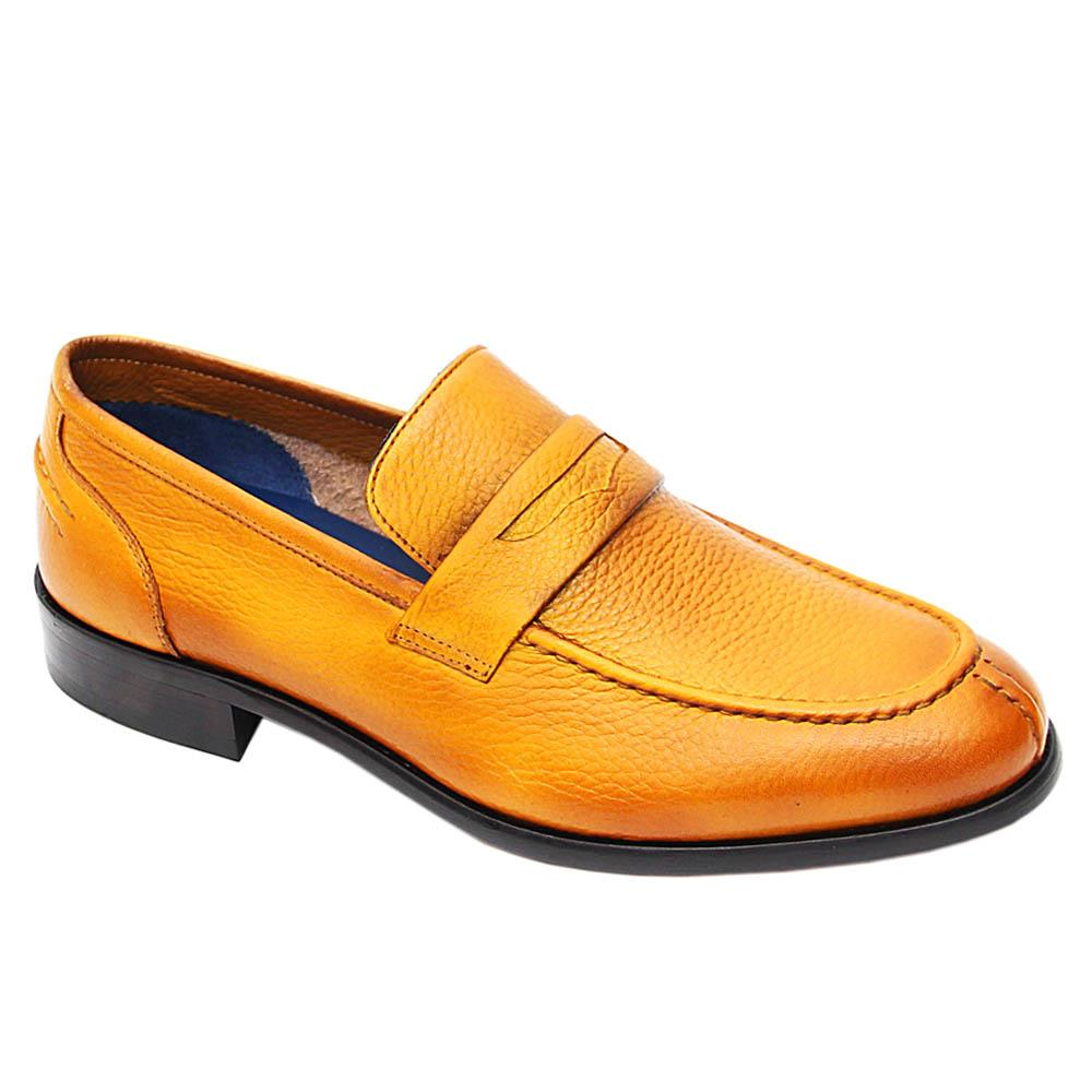 Mustard Yellow Leonel Italian Leather Penny Loafers