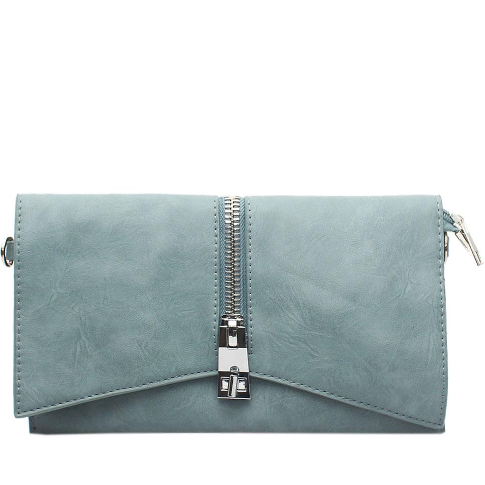 Sky Blue Tonia Zip Leather Flat Purse