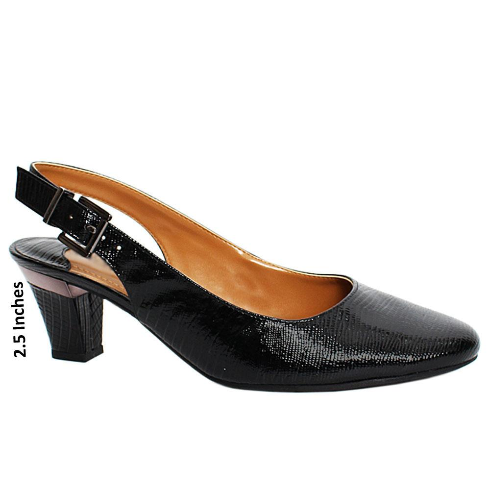 Black Maxi Snake Leather Slingback Heel