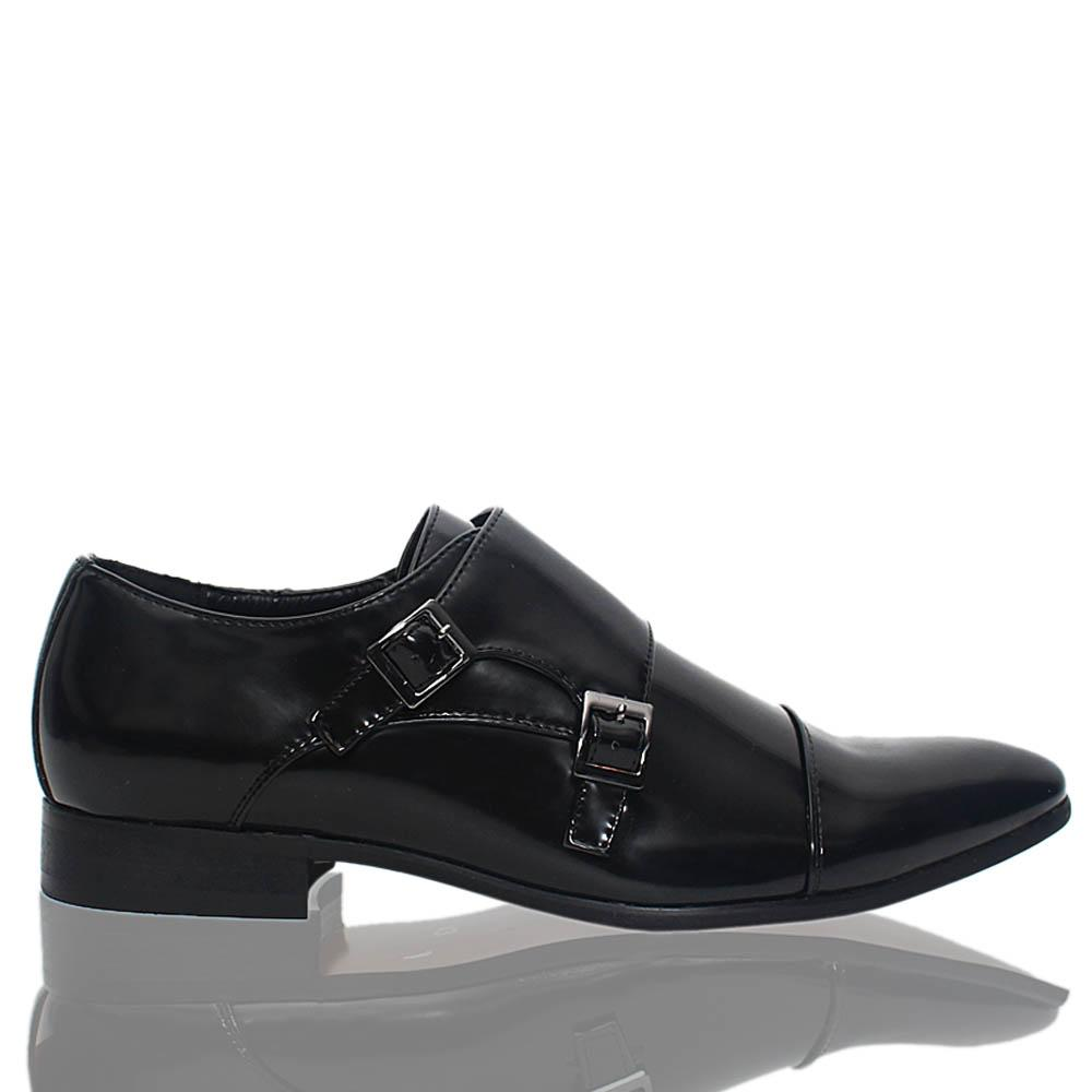 Black James Patent Leather Men Monk Strap Shoes