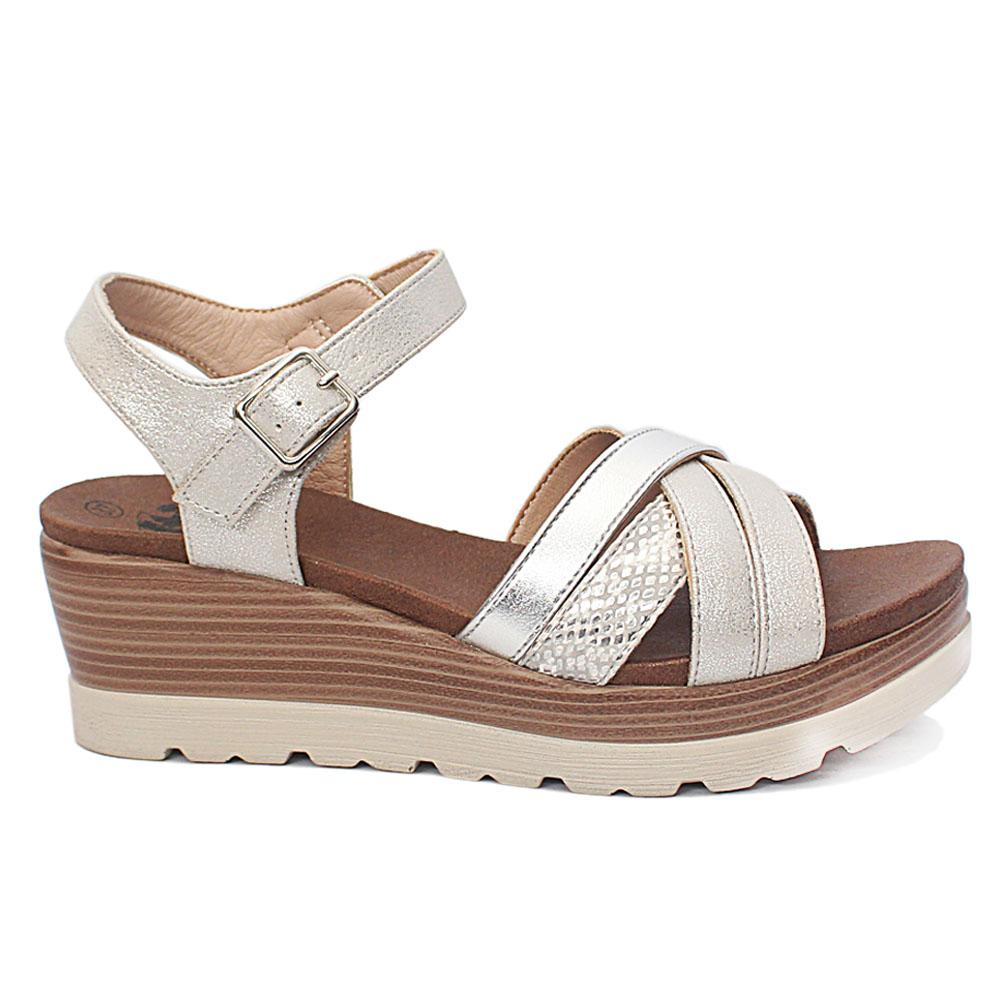 Xti Silver Briony Leather Wedge Sandals