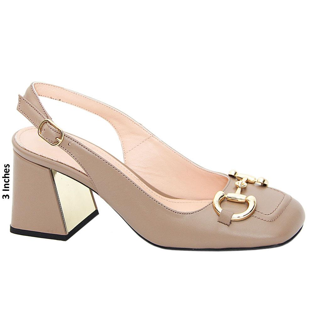 Khaki Ana Maria Tuscany Leather Mid Heel Slingback Pumps