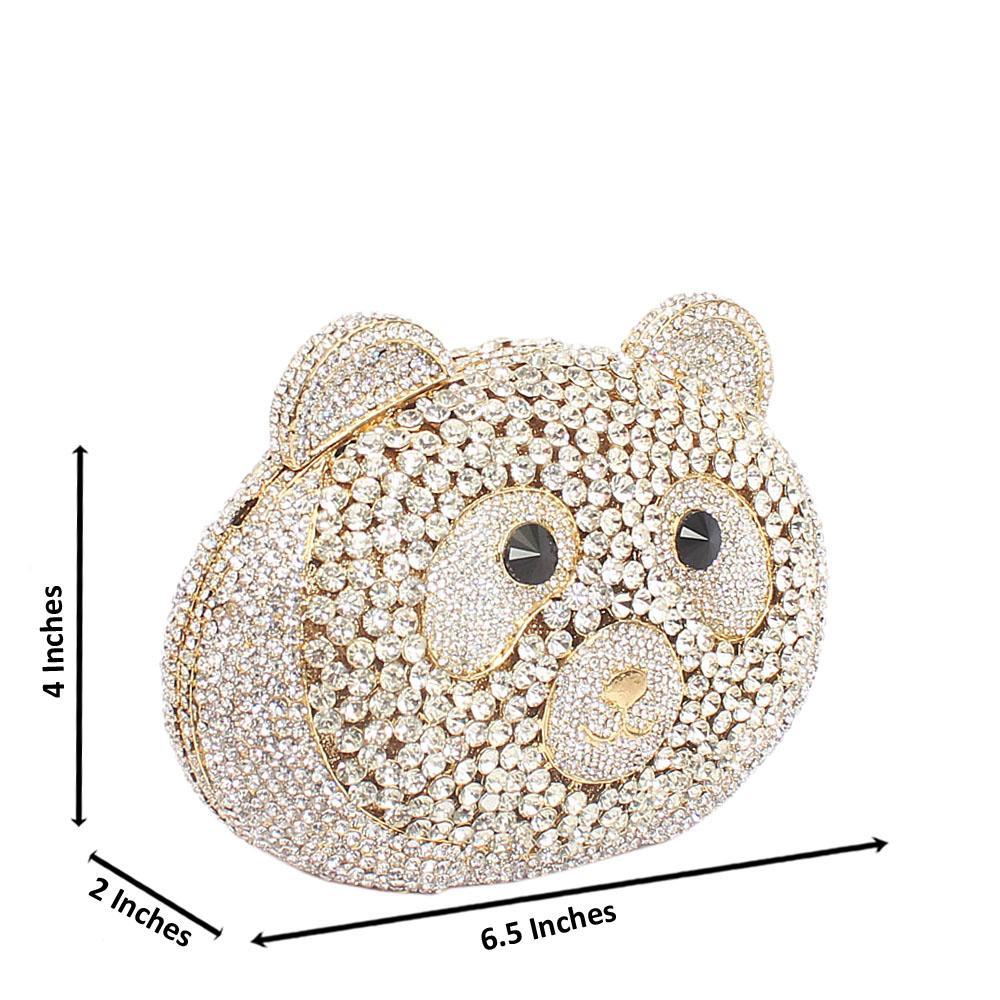 Gold White Teddy Diamante Crystal Hard Clutch Purse