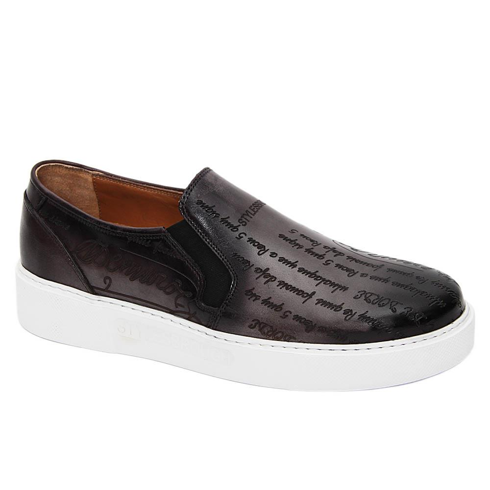 Gray Julio Caesar Italian Leather Slip-On Sneakers