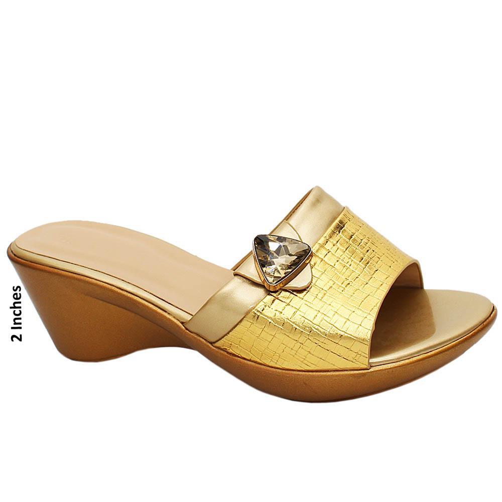 Gold Esmeralda Leather Wedge Heels