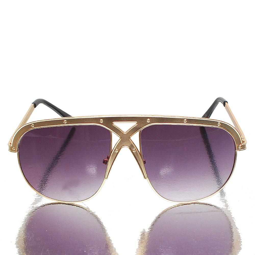 Gold Black Oblong Dark Lens Sunglasses