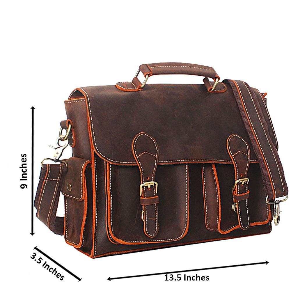 Dark Brown Distressed Leather Briefcase
