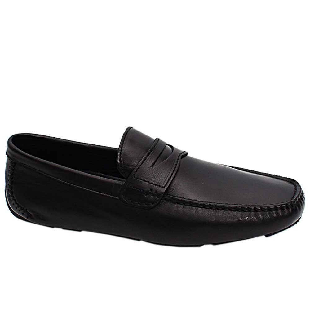Black Spiro Leather Drivers Shoes