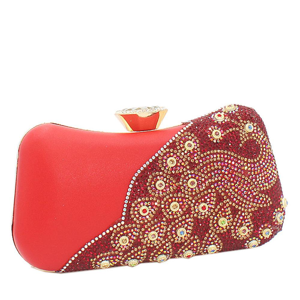 Dark Red Ariel Evoke Studded Leather Clutch Purse