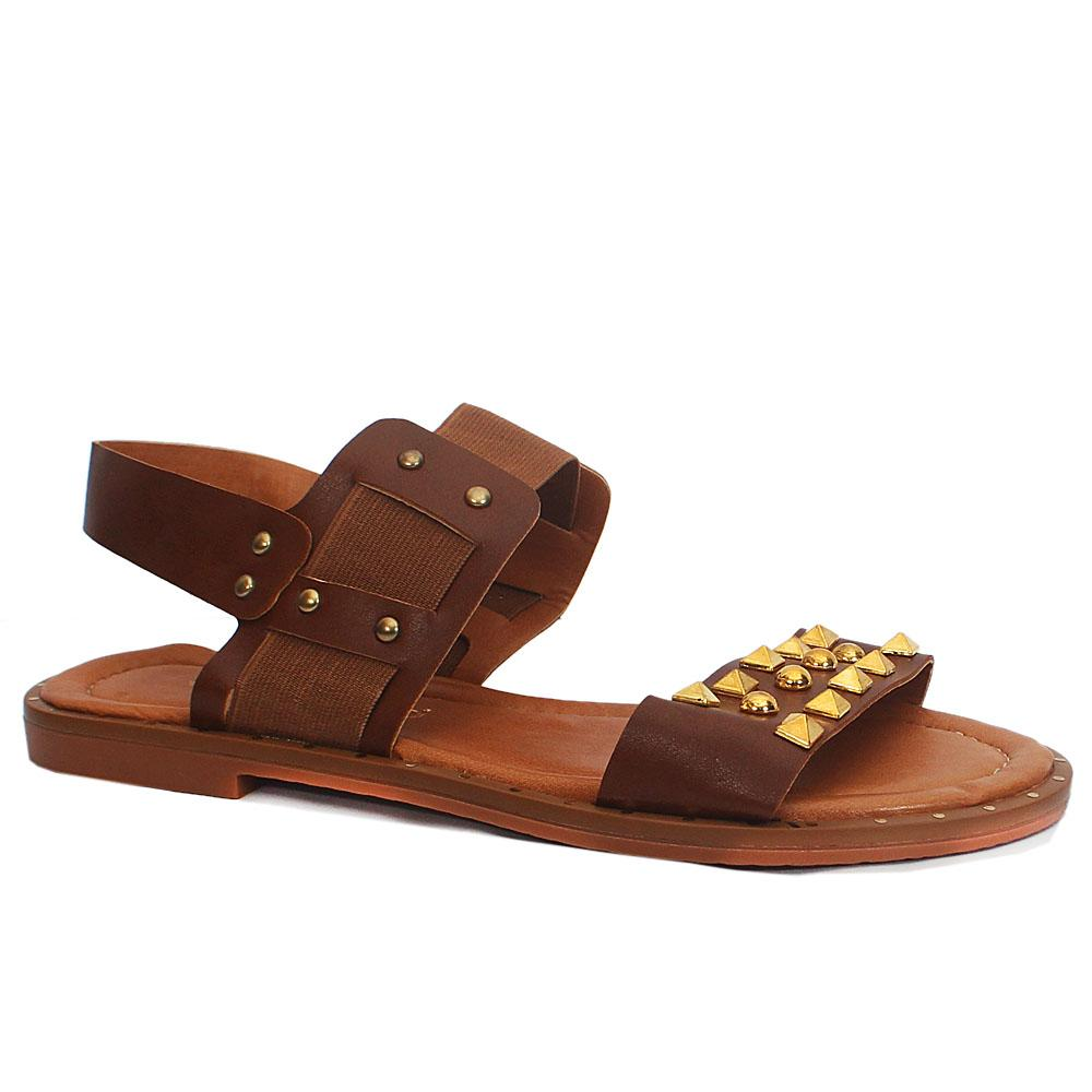 Brown Studded Leather Flat Sandals