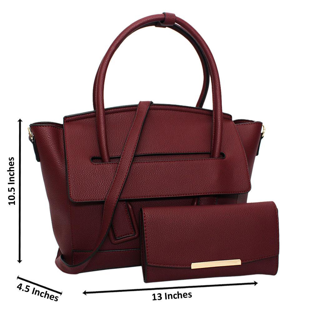 Burgundy Eliena Leather Medium Tote Handbag