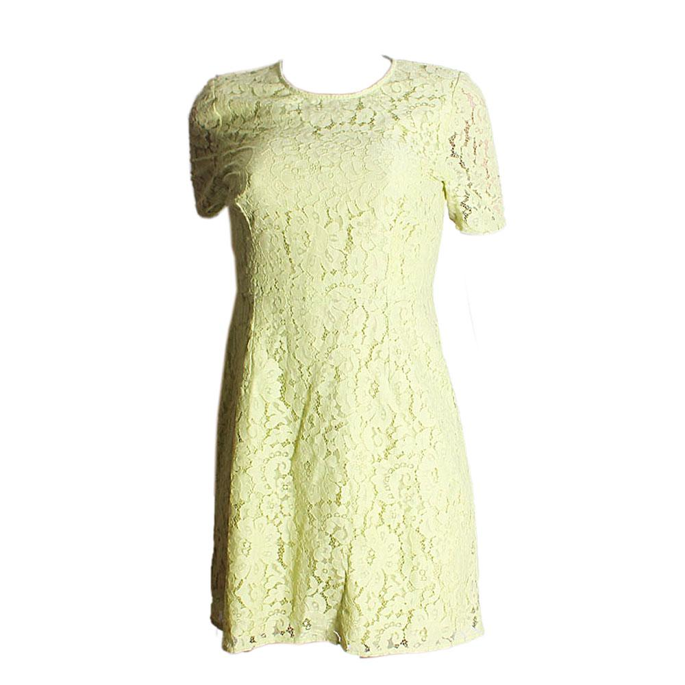 Lemon Green Net Pattern Ladies Dress-UK 12