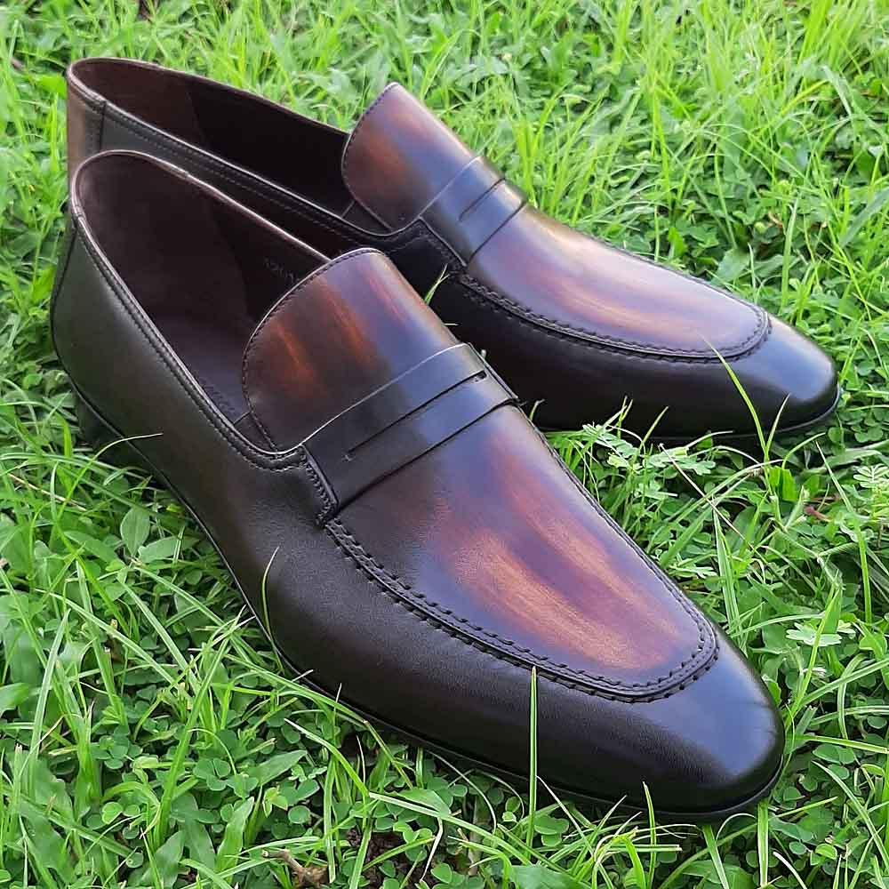 Coffee Don Martino Italian Leather Loafers