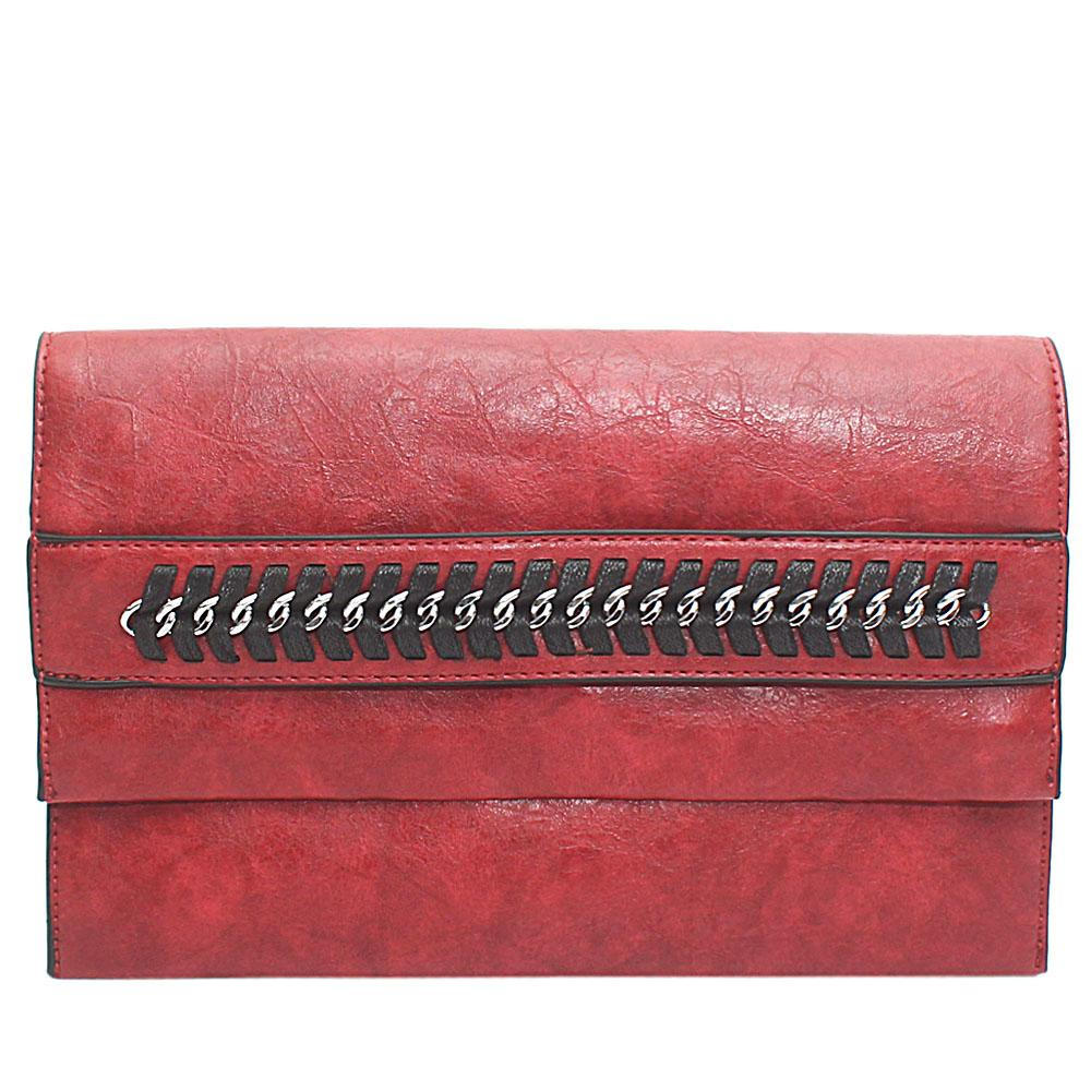 Red Chain Design Leather Flat Purse